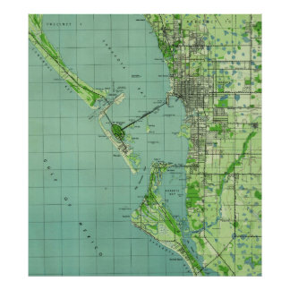 Poster Mapa do vintage de Sarasota Florida (1944)