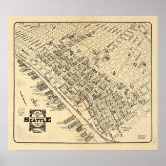 Pôster Mapa do vintage de Seattle Centro, 1903