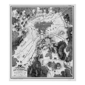 Pôster Mapa do vintage do campo de batalha de Gettysburg