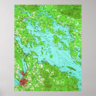 Poster Mapa do vintage do lago Winnipesaukee (1956)