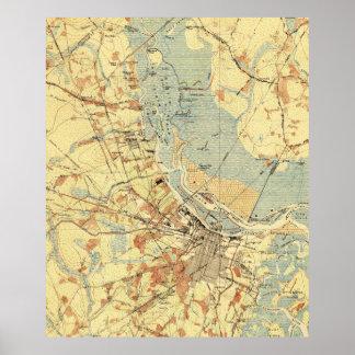 Pôster Mapa do vintage do savana Geórgia (1942)