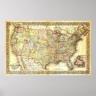 Poster Mapa dos Estados Unidos (século XIX)