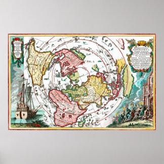Pôster Mapa liso da terra da viagem de Magellan