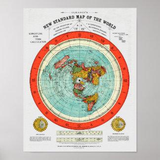 Poster Mapa padrão novo da terra lisa Earther do mundo