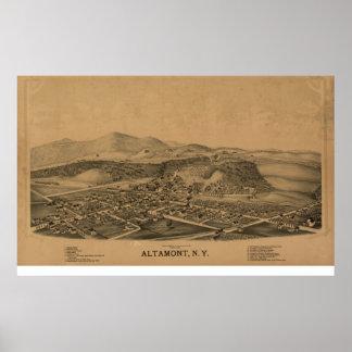 Poster Mapa panorâmico antigo de Altamont New York 1889