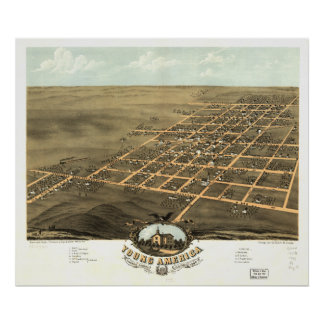 Pôster Mapa panorâmico antigo de América Illinois 1869