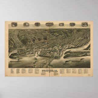 Poster Mapa panorâmico antigo de Dubuque Iowa 1889