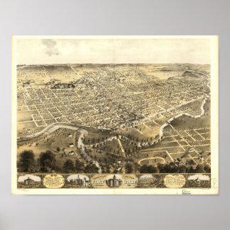 Pôster Mapa panorâmico antigo de Fort Wayne Indiana 1868