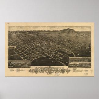 Pôster Mapa panorâmico antigo de Helena Montana 1883