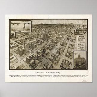 Pôster Mapa panorâmico antigo de Houston Texas 1912 do