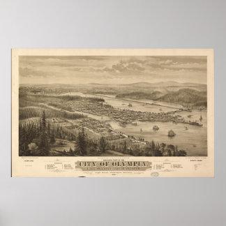 Poster Mapa panorâmico antigo de Washington 1870 da
