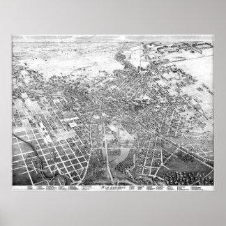 Pôster Mapa pictórico do vintage de San Antonio TX (1886)
