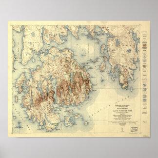 Pôster Mapa topográfico de parque nacional 1931 do Acadia