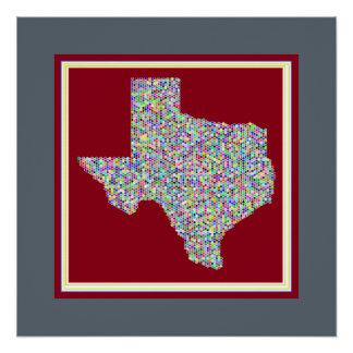 Pôster Mapa vibrante colorido do poster de Texas