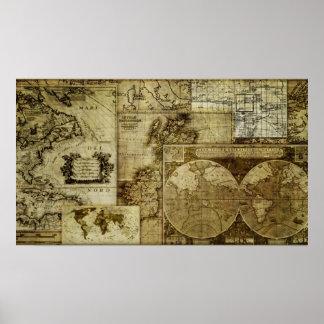 Pôster Mapas de Velho Mundo legal do vintage e da
