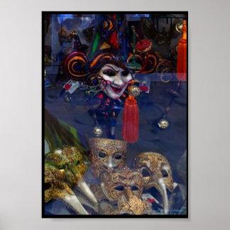 Poster Máscaras Venetian na janela