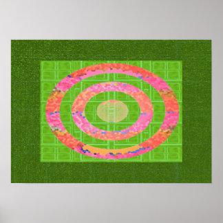 Pôster Matiz do verde e do rosa oval do vidro colorido de