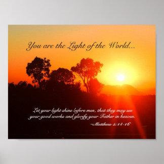 Poster Matthew 5 14-16 você é a luz do mundo