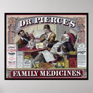 Poster Medicinas do vintage: Medicinas de família do Dr.