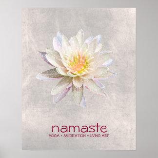 Pôster Meditação da ioga de Namaste da aguarela da flor