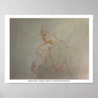 Pôster Medusa e uma esfinge - desenho preparatório