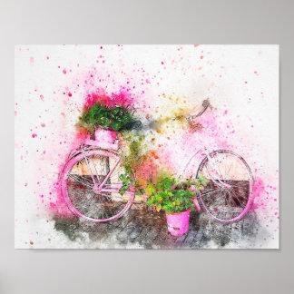 Pôster Meios bicicleta da mistura da aguarela & flores 3