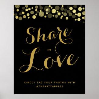 Poster Meios sociais do ouro & do preto que wedding o