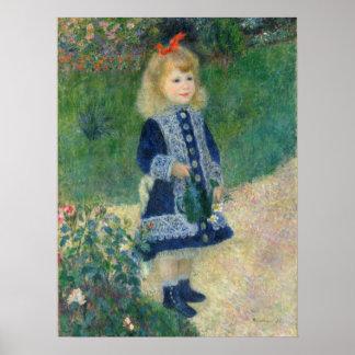 Pôster Menina com uma lata molhando por Auguste Renoir