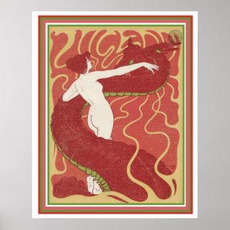 Poster Menina de Nouveau da arte com cobrir 16 x 20 de