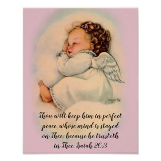 Poster Menina do anjo do bebê com citações da escritura