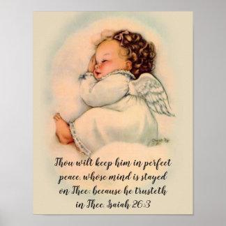 Pôster Menina do anjo do bebê com citações da escritura