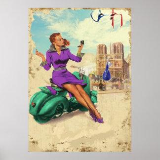 Poster Menina do italiano do vintage