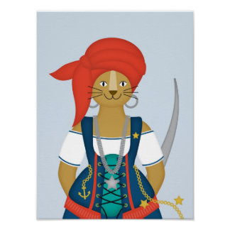 Poster Menina do leão do pirata, arte náutica da parede