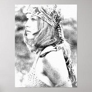 Poster Menina dos anos setenta --Caneta de Digitas e