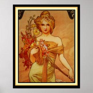Pôster Menina dourada com o buquê por Alphonse Mucha 16 x