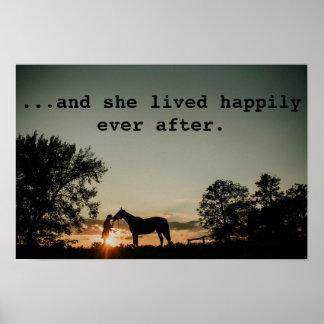 Pôster Menina que beija o cavalo viveu feliz sempre em