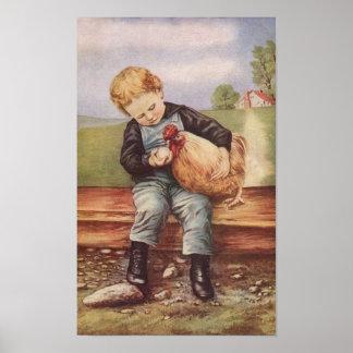 Poster Menino do vintage e sua galinha do animal de estim