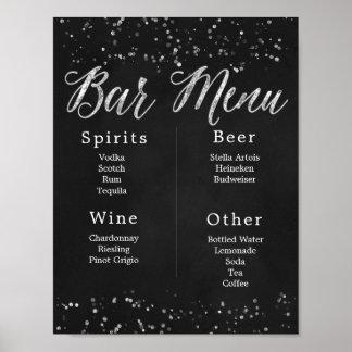 Poster Menu do bar do casamento do quadro