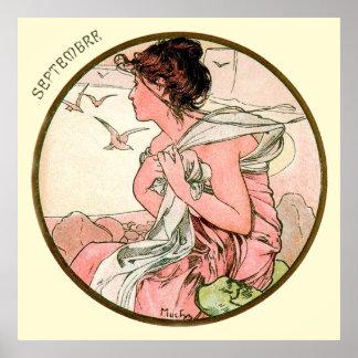 Poster Mês de Alphonse Mucha de setembro
