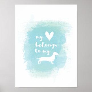 Pôster Meu coração pertence a meu watercolo da caligrafia