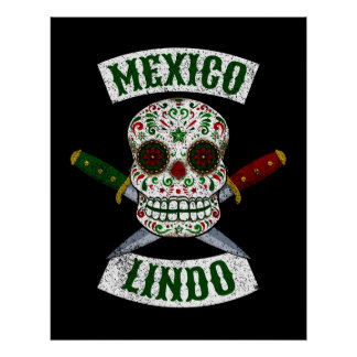 Poster México Lindo. Crânio mexicano com os punhais