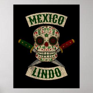 Poster México Lindo. Crânio mexicano com punhais