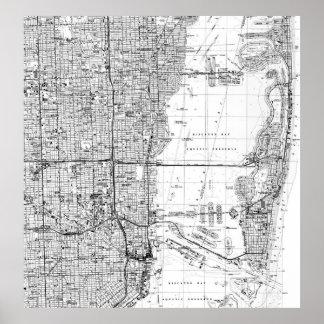 Pôster Miami Florida Mapa (1988) BW