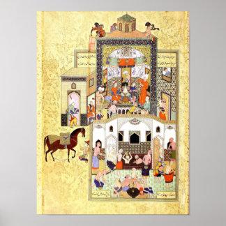 Poster Miniatura persa: O Dervish no Hammam