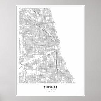 Poster minimalista do mapa de Chicago, os Estados Pôster