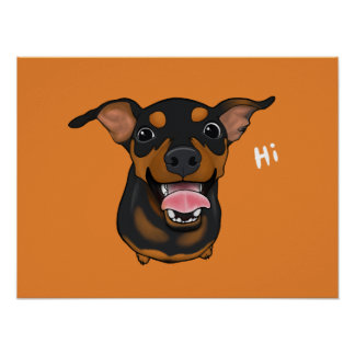 Poster mínimo feliz do retrato do Pin do Pinscher