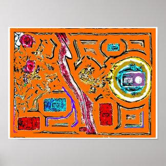 Poster místico do Expressionism abstrato da árvore Pôster