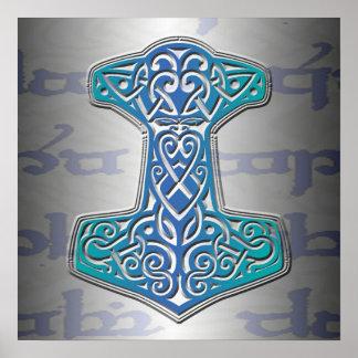 Pôster Mjölnir azul em Tengwar