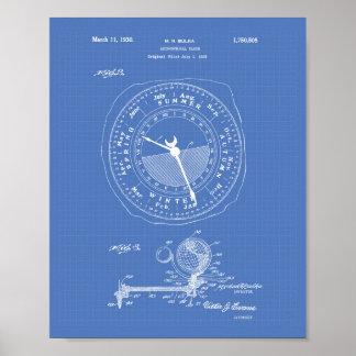 Pôster Modelo astronômico da arte da patente do pulso de