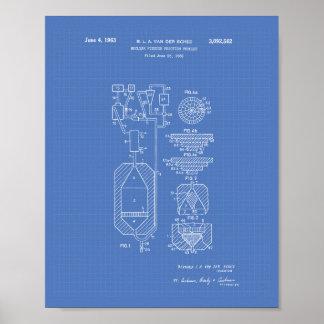 Pôster Modelo da arte da patente da fissão nuclear 1956